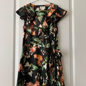 Anthropologie Hibiscus Floral Print Wrap Dress